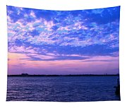Rockaway Point Dock Sunset Violet Orange Tapestry