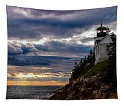 Rocky Cliffs Below Maine Lighthouse Tapestry
