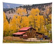 Rocky Mountain Autumn Ranch Landscape Tapestry
