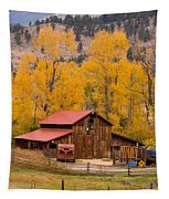 Rocky Mountain Barn Autumn View Tapestry