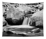 Rocky Mountain Canyon Waterfall In Black And White Tapestry