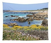 Rocky Surf With Wildflowers Tapestry