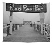 Rod And Reel Pier In Fog In Infrared 53 Tapestry