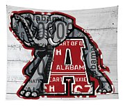 Roll Tide Alabama Crimson Tide Recycled State License Plate Art Tapestry