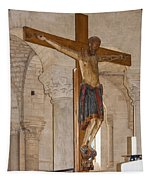 Romanesque Abbey Crucifix Tapestry