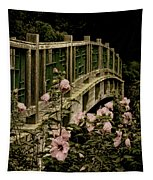Romantic Garden And Bridge Tapestry