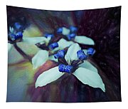 Romantic Island Lilies In Blues Tapestry