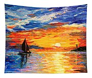 Romantic Sea Sunset Tapestry