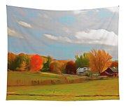 Romantic Skies Autumn Farm Tapestry
