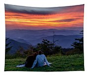 Romantic Smoky Mountain Sunset Tapestry