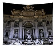 Rome, Trevi Fountain At Night Tapestry