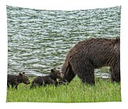 Romping By The Lake With Mama Bear Tapestry