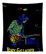 Saturated Blues Rock With Text Tapestry