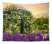 Rose Arbor At Sunset Tapestry