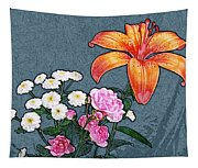 Rose Baby Breath And Lilly Tapestry