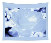 Rose In Light Blue And White Tapestry