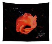 Rose Of Sharon Orange On Black Tapestry