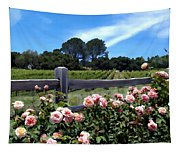 Roses At Rusack Vineyards Tapestry