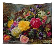 Roses By A Pond On A Grassy Bank  Tapestry