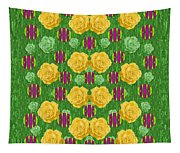 Roses Dancing On A Tulip Field Of Festive Colors Tapestry