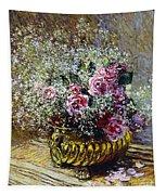 Roses In A Copper Vase Tapestry