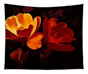Roses In Molten Gold Art Tapestry