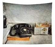Rotary Dial Phone In Black S And H Stamps Tapestry