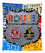 Route 66 Highway Road Sign License Plate Art Tapestry by Design Turnpike