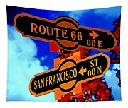 Route 66 Street Sign Stylized Colors Tapestry