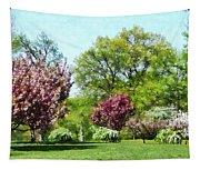 Row Of Flowering Trees Tapestry