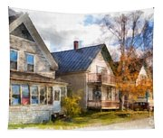 Row Of Houses Hardwick Vermont Watercolor Tapestry