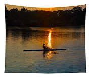 Rowing At Sunset 2 Tapestry