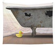 Rubber Ducky Bathtub Beach Surreal Tapestry