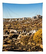 Rugged Mountain Town Tapestry