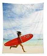 Running With Surfboard Tapestry