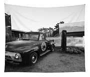 Russel Farms 1951 Ford F100 Black And White Tapestry