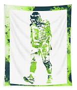 Russell Wilson Seattle Seahawks Water Color Art 2 Tapestry