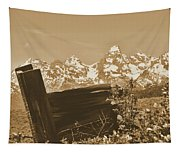 Rustic View Of Grand Teton Tapestry