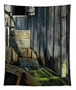 Rustic Water Wheel With Moss Tapestry
