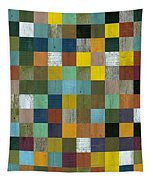 Rustic Wooden Abstract Tower Tapestry