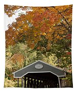 Saco River Covered Bridge Under Fall Foliage Tapestry