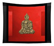 Sacred Symbols - Gold Buddha On Black And Red  Tapestry