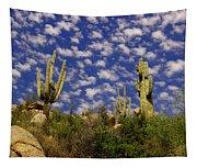 Saguaros Under A Cloud Dappled Sky Tapestry