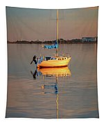 Sail Boat In Roanoke Sound 1x2 Ratio Photo Painting Img_3969 Tapestry