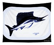 Sail Fish In Black And White Watercolor Tapestry