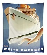 Sail White Empress To Europe - Canadian Pacific - Retro Travel Poster - Vintage Poster Tapestry