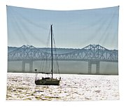 Sailboat And The Tappan Zee Bridge Tapestry