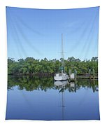 Sailboat At Dock Florida Tapestry