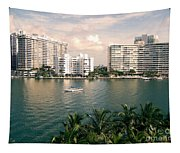Sailboat In Miami Beach Florida Tapestry