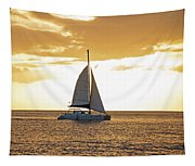 Sailboat Sailing Off Of Anse Chastanet At Sunset Saint Lucia Caribbean  Tapestry